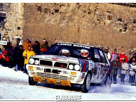 Miki Biasion in gara al Rally di Montecarlo 1987