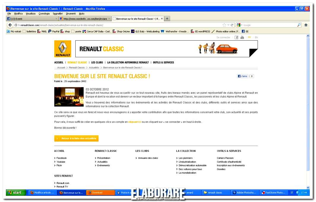 Nuovo sito internet Renault Classic