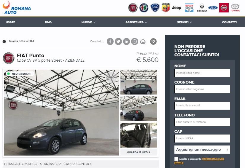 Annuncio Fiat Punto usata sul sito Auto Usate a Roma