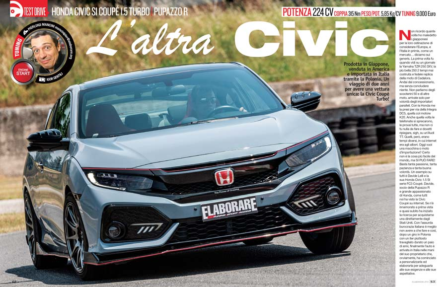 Honda Civic Coupé 1.5 Turbo test drive sul magazine Elaborare 270